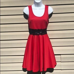 NWOT Red & Black Lace A Line Dress Size Small